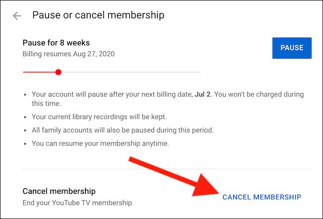"Select the ""Cancel Membership"" link"