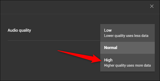 "Select the ""High"" option"