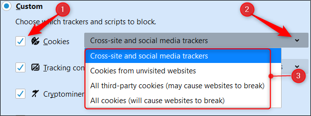 "Select the box next to ""Cookies,"" click the arrow, and then select an option from the drop-down menu."