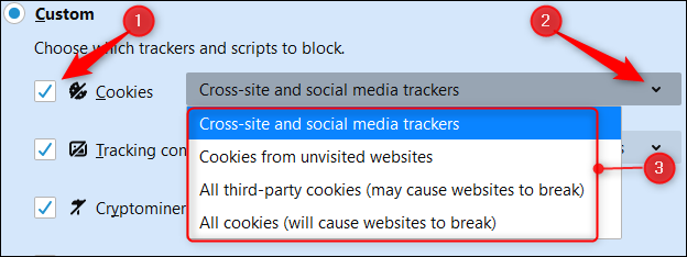 """Select the box next to """"Cookies,"""" click the arrow, and then select an option from the drop-down menu."""
