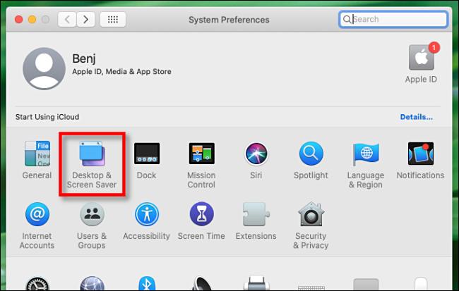 Select Desktop & Screen Saver in Mac System Preferences