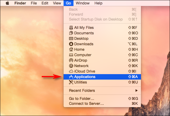 Select Go > Applications in Finder on Mac