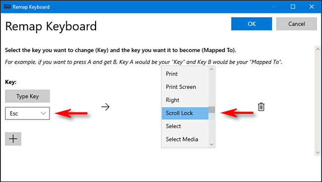 Select keys to remap in Power Toys on Windows 10.