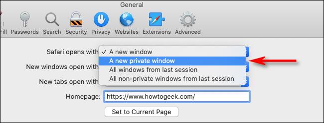 Seleccione una nueva ventana privada del menú desplegable en Safari para Mac