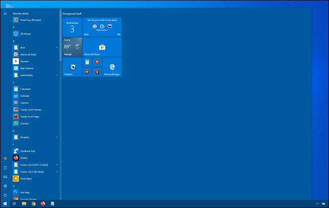 Enorme menú de inicio de Windows 10
