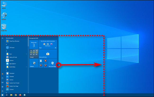 Resizing the width of the Windows 10 Start menu
