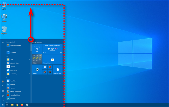 Vertically resizing the Windows 10 Start menu