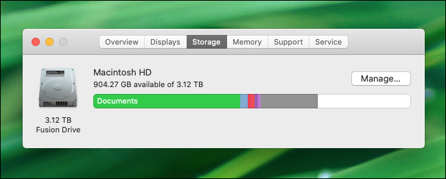 macOS Catalina checking for free disk space.