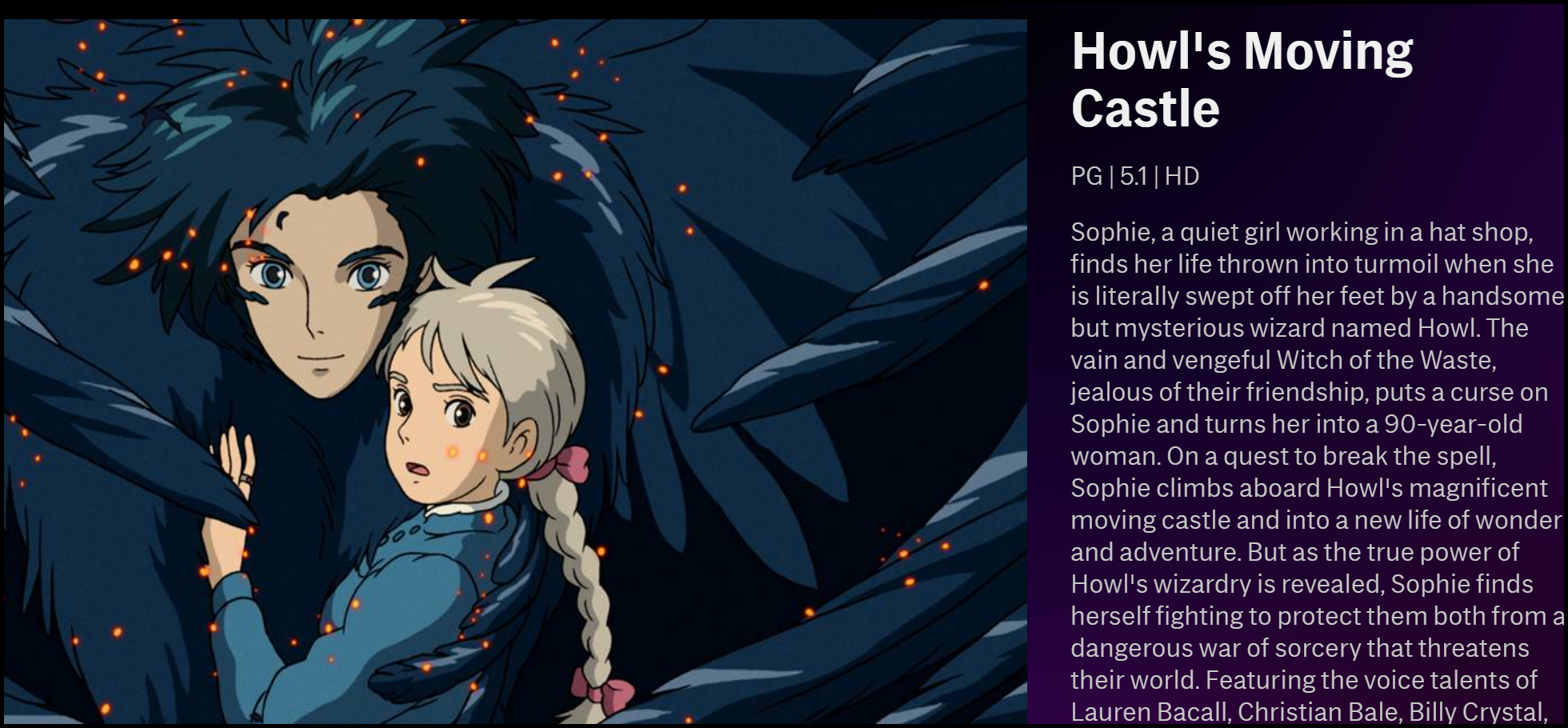 "The description of ""Howl's Moving Castle"" on HBO Max."