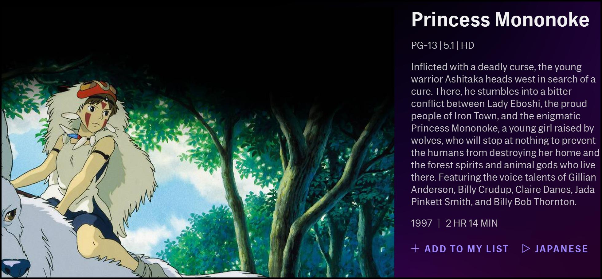 "The description of ""Princess Mononoke"" on HBO Max."
