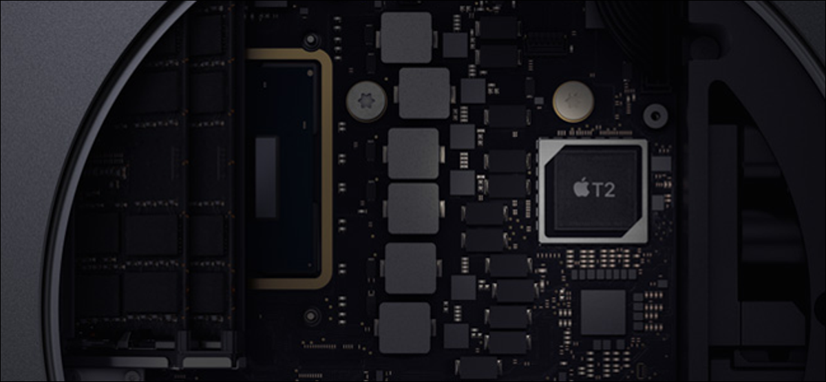 The T2 security chip on a Mac motherboard.