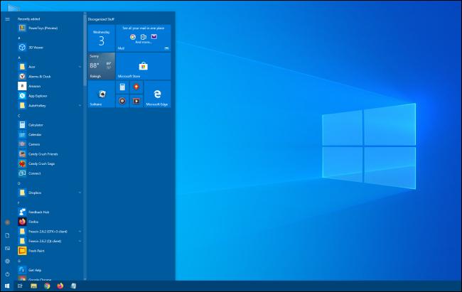 Un menú de inicio de Windows 10 más alto