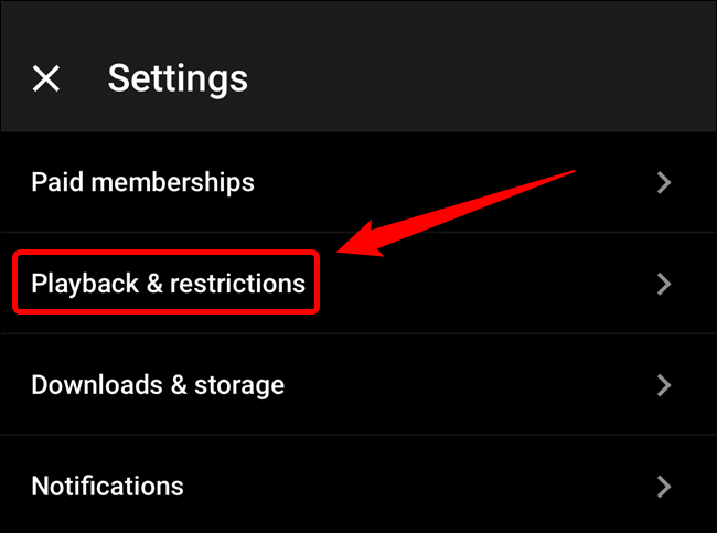"""Tap the """"Playback & Restrictions"""" option"""
