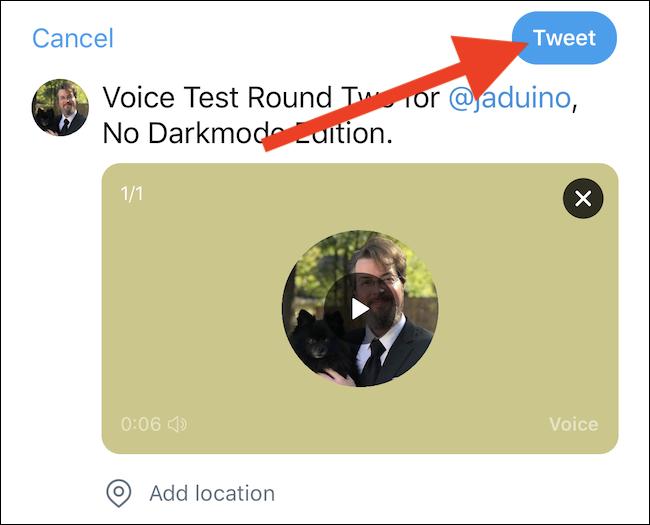 """Tap the """"Tweet"""" button"""