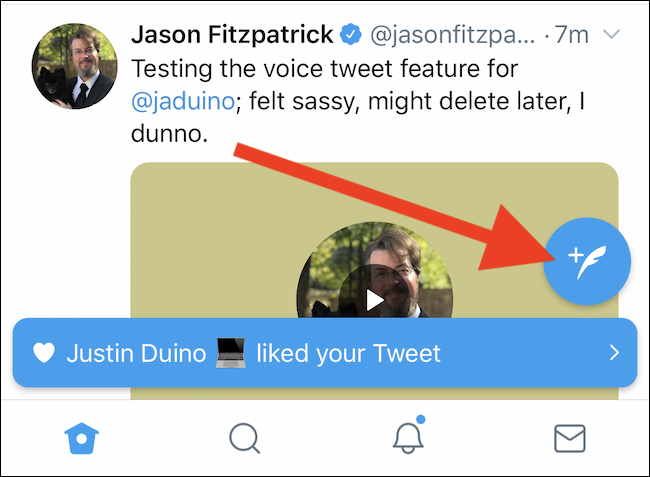 Tap the New Tweet floating action button in the Twitter app