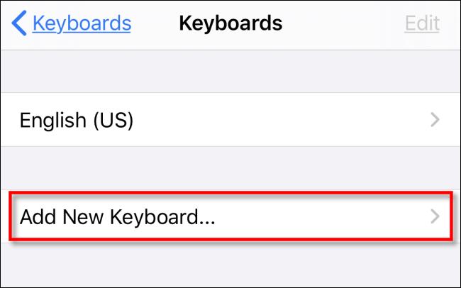 Tap Add New Keyboard in Settings on iPhone