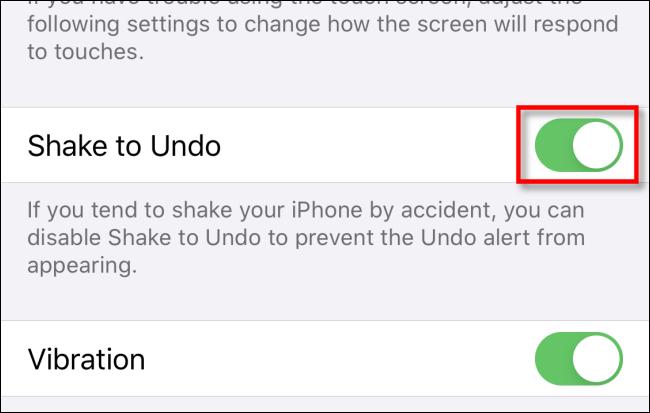 Tap Shake to Undo Switch in Settings on iPhone or iPad