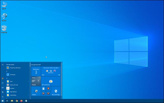 Pequeño menú de inicio de Windows 10