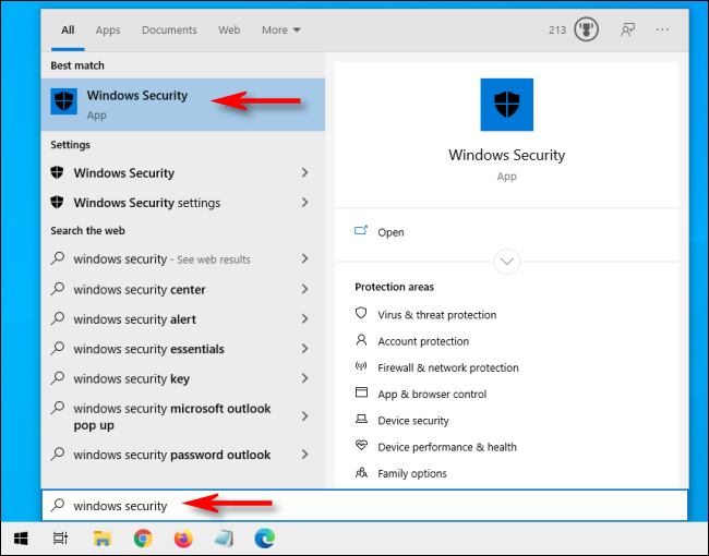 Abra Inicio y escriba Seguridad de Windows en Windows 10