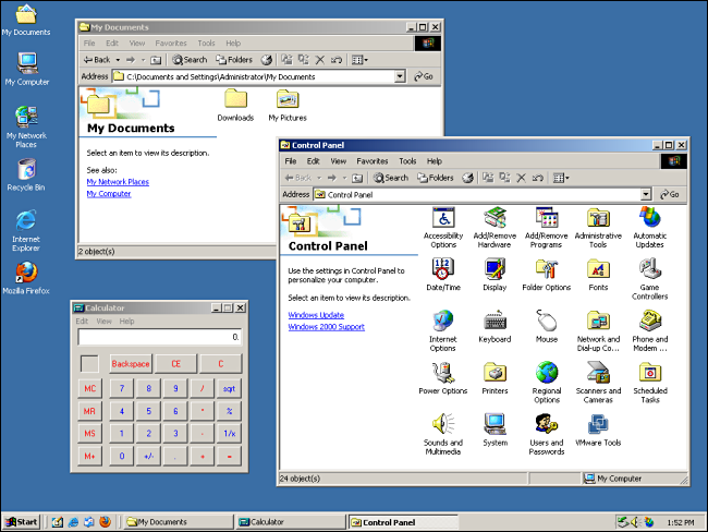 """""""My Documents,"""" """"Control Panel,"""" and """"Calculator"""" opened on a Windows 2000 desktop."""