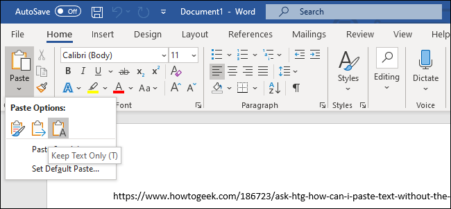 """The """"Keep Text Only"""" option for pasting text in Microsoft Word."""