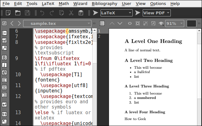 A LaTeX file open in Texmaker, showing a preview of the typeset page.