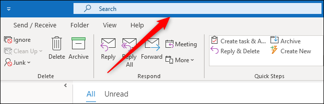 The new Outlook Search box.