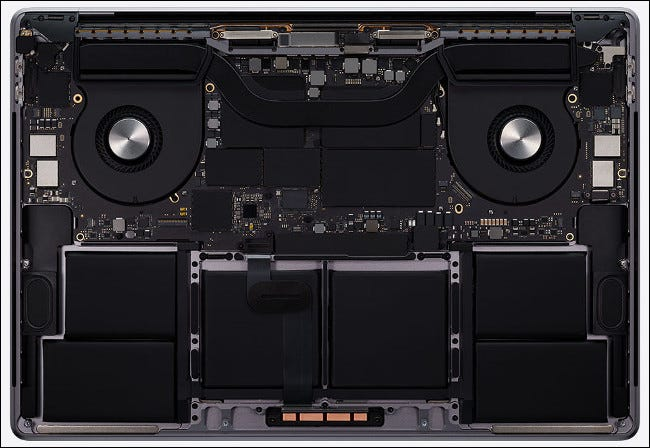 The hardware in a 2020 16-inch MacBook Pro.