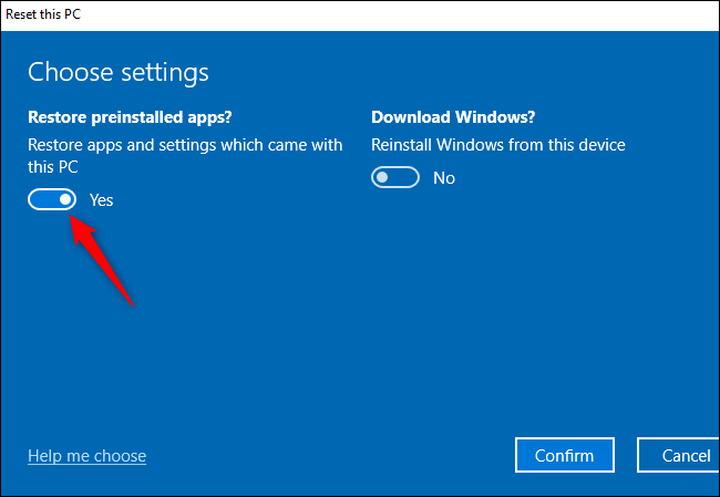 "The ""Restore preinstalled apps?"" option for performing a Fresh Start on Windows 10."