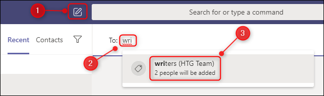 A new channel window showing the autocomplete for a tag mention.