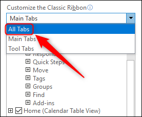 "Change ""Main Tabs"" to ""All Tabs."""