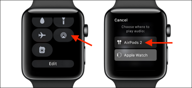 Select AirPlay options in Apple Watch to switch to AirPods