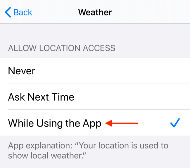 Choose Allow When Using the App option