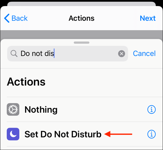 Choose action to add