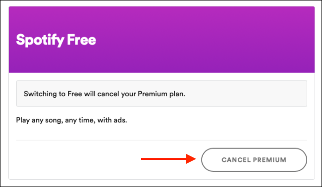 "Click ""Cancel Premium."""