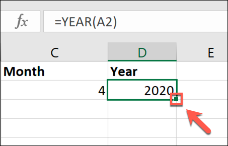 To copy the data from a cell to fill a column, double-click the small, green square icon in the bottom-right corner of the cell