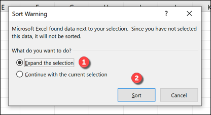 Sort Warning box Excel
