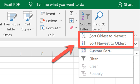 """To sort Excel data in ascending or descending order, click Sort & Filter > Sort Oldest to Newest or Sort Newest to Oldest"""" width=""""450″ height=""""271″></p> <p>Once you select your preferred option, Excel will automatically sort the data in that order, using the date column as the reference point.</p> <p>The first date (under your column label) will be the earliest or latest date in the set.</p> <p><img loading="""