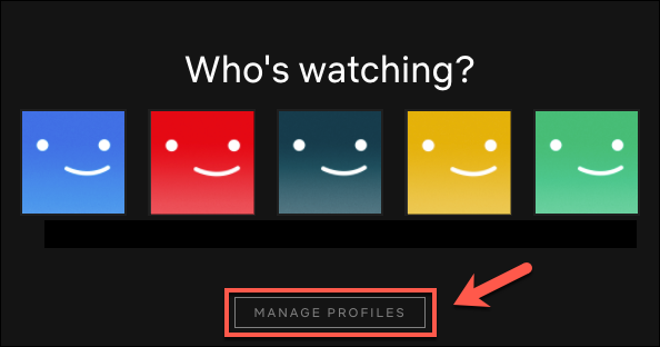 "Click ""Manage Profiles."""