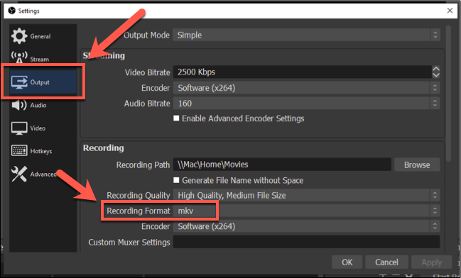 "To change the OBS recording format, press Settings > Output, then select another file format under the ""Recording Format"" section"