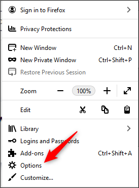 Options item in firefox menu