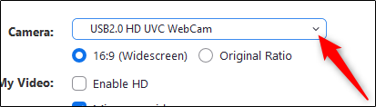 Select the camera in the settings menu