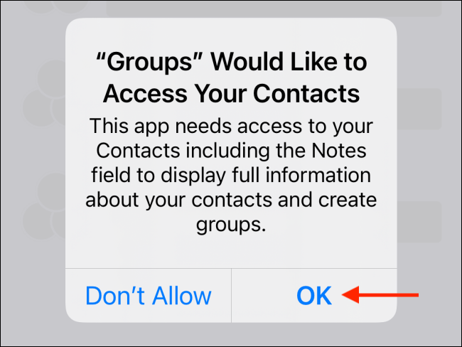 Press OK from the popup to give Contacts permission