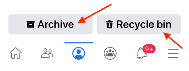 Tap on Archive or Recycle Bin