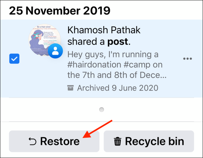Tap on Restore from Archive menu