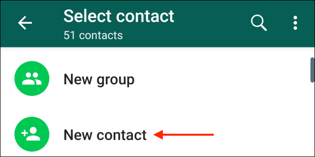 Tap the New Contact button in Android