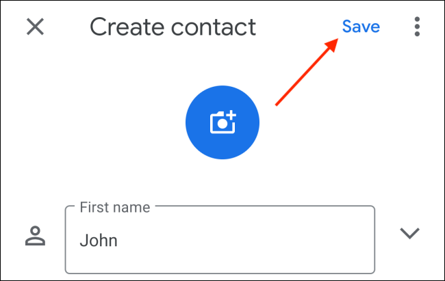 Tap the Save button after entering contact details on Android