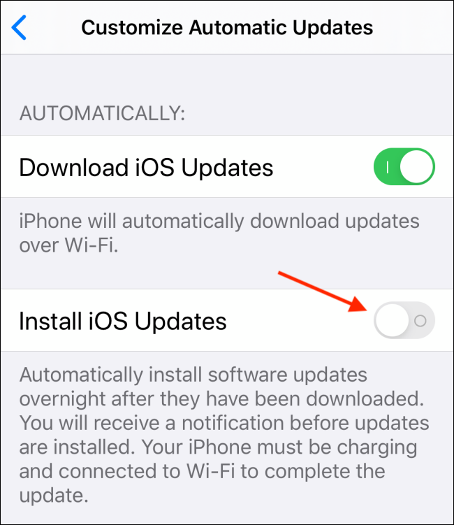 Tap toggle next to Install iOS Updates