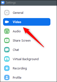 Video option in left-hand pane