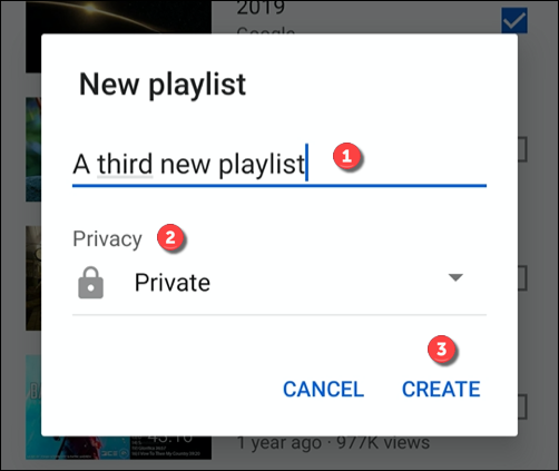 Provide a name and privacy level for a playlist, then click Create to create it